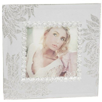 Mirror Glitter Petals and Leaves Photo Frame for 3x3 inch Picture